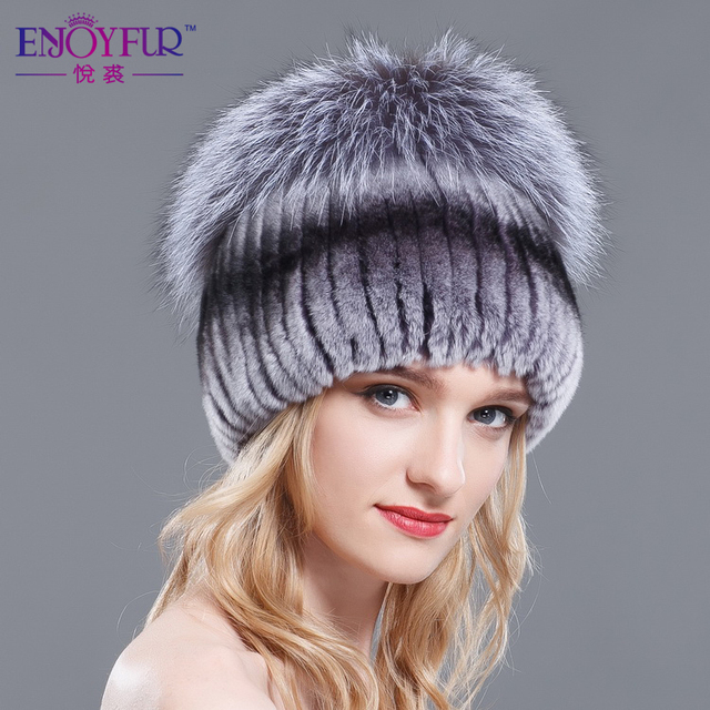 2016 new free shipping autumn winter warm hat good rex rabbit fur hat silver fox fur hat Russian cap knit hat for women and girl