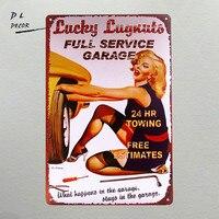 DL-Lucky Lugnut полный сервис гаража реклама металлическая жестяная вывеска постер для декораций --- COOL