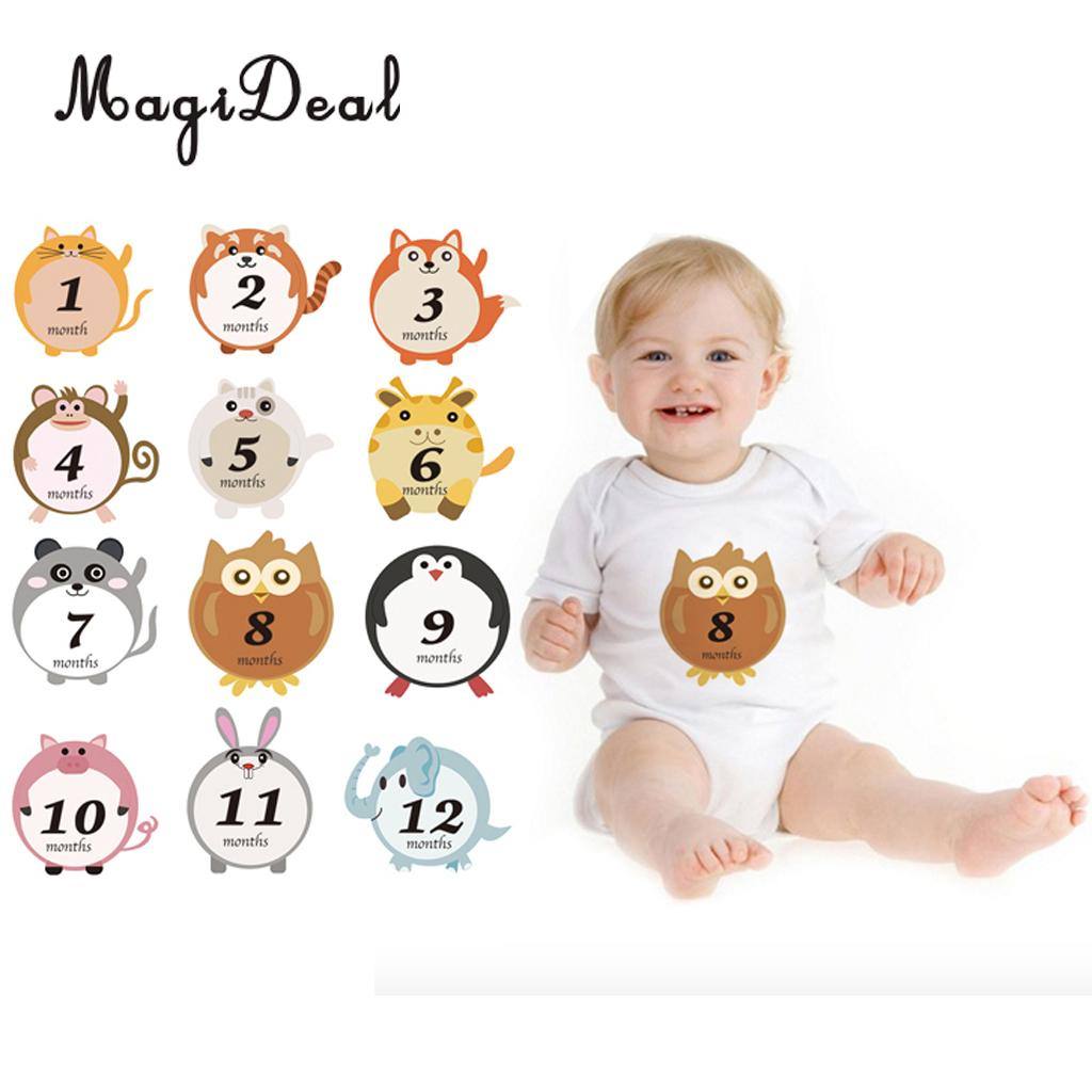 MagiDeal Cute Animal Baby Monthly Milestone Sticker Baby Shower Photo Prop 1-12 Month Kids Baby Shower Party Birthday Decor 翻轉 貓 砂 盆