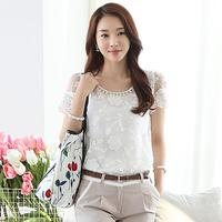 Hot Spring 2014 Fashion Women Blouse Short Sleeve Casual Shirt Lace Top Pearl Collar Clothing Size