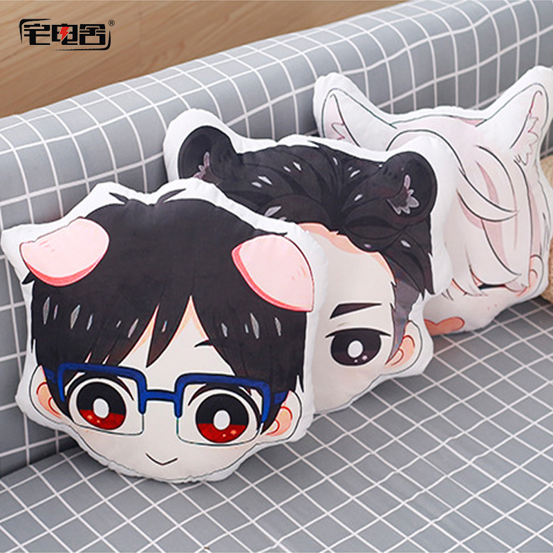 ZHAIDIANSHE anime YURI on ICE victor Yuri Otabek lovely beast ear bolster short plush pillow kids gift