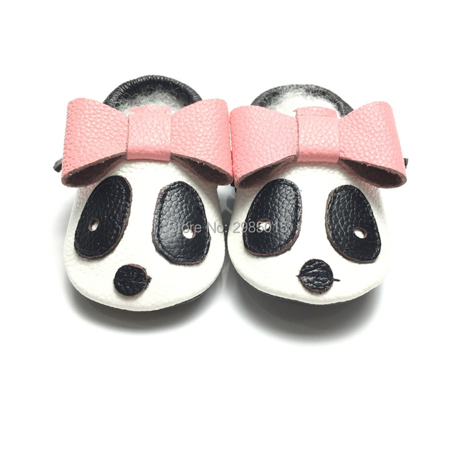d164f57744a3eb 2017 Spring Cute Panda Animal Style Baby Shoes Soft Sole Genuine Leather  Baby Moccasins Boy And