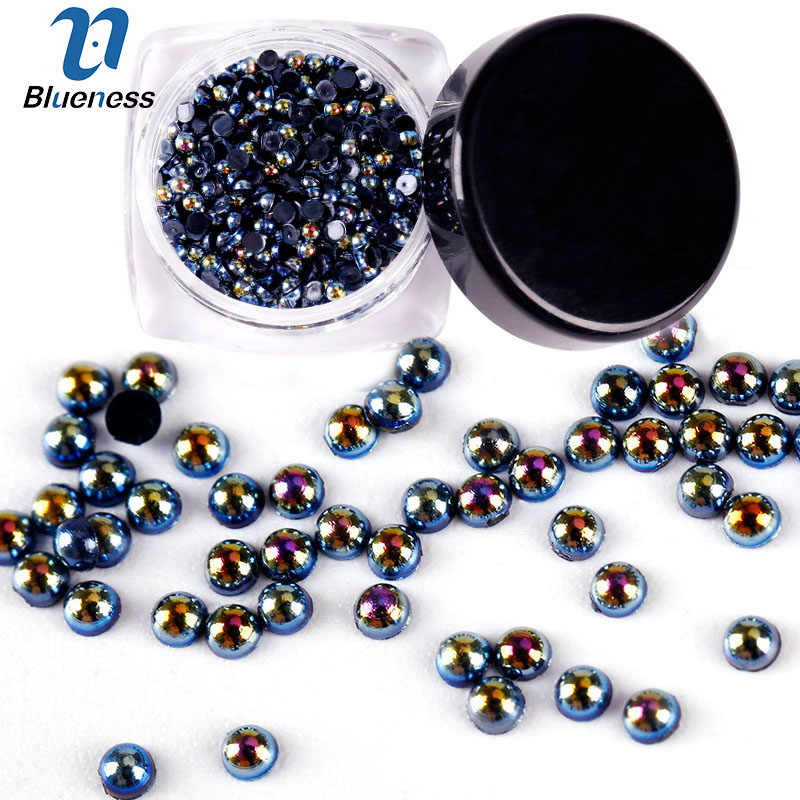Blueness 2g/Box AB Black Pearl 2mm 3mm For Nail Gel Polish Nail Art 3D Decorations Charms Nails Stud HZ001-HZ003