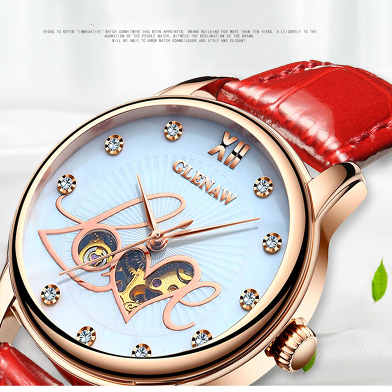 GLENAW Luxury Ladies Watches 2019 Women Automatic Mechanical Watch Hollow Design Waterproof Wrist Watch Saati Montre FemininoGLENAW Luxury Ladies Watches 2019 Women Automatic Mechanical Watch Hollow Design Waterproof Wrist Watch Saati Montre Feminino