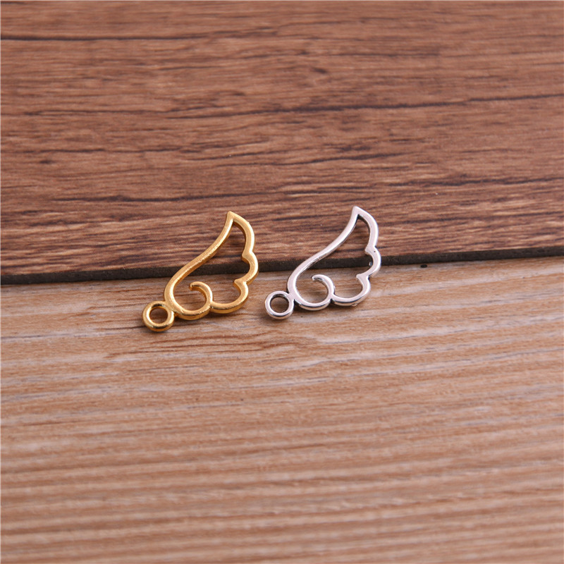 60PCS 9*18mm Metal Alloy Three Color Mini Hollow Wing Charms Pendants for Jewelry Making DIY Handmade Craft 2