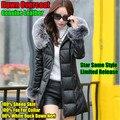 Estrella mismo estilo, mujeres Top de gama del largo cuero genuino abajo abrigo, 100% piel de oveja, cuello de piel de zorro, pato Neri con capucha Outwear