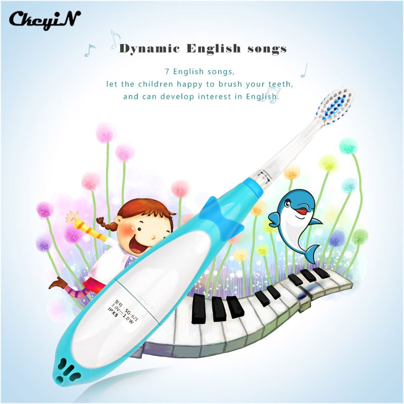 CkeyiN Cartoon Dolphin Children Music Electric Toothbrush LED Tooth Brush Kids Sonic Toothbrush Electric+3 Brush Heads 34 cartoon dolphin children electric