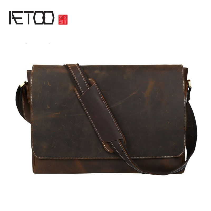 AETOO The new retro classic classic horseshoe skim cross package men briefcase 15.6 inch computer shoulder bag недорого