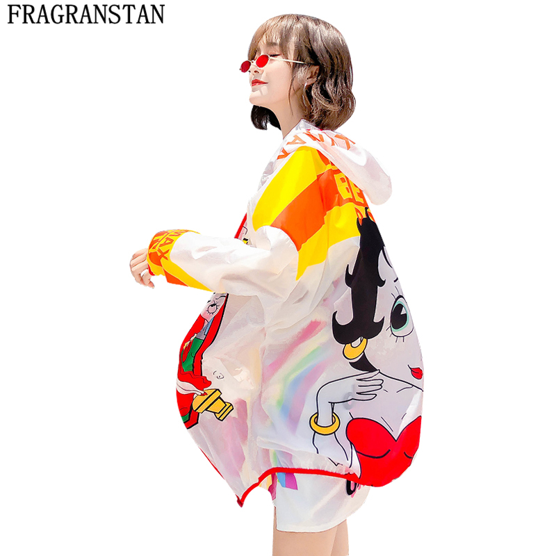 Women 2018 Summer New Hooded Jacket Street Style Loose Plus Size Cartoon Print Outerwear Female Casual