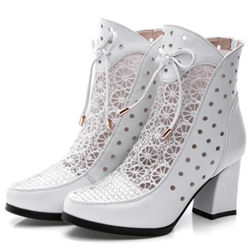 2019 new mesh short boots women's high heel thick with women's boots spring and autumn women's shoes