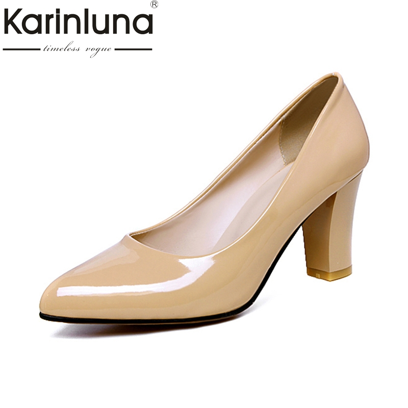 Karinluna Big Size 31-47 Customized Red Shoes Pumps Women Concise Pointed Toe High Heels Office Lady Footwear Spring Shoes karinluna big size 31 47 office lady shoes women med heels slip on elegant round toe dating woman pumps pink black