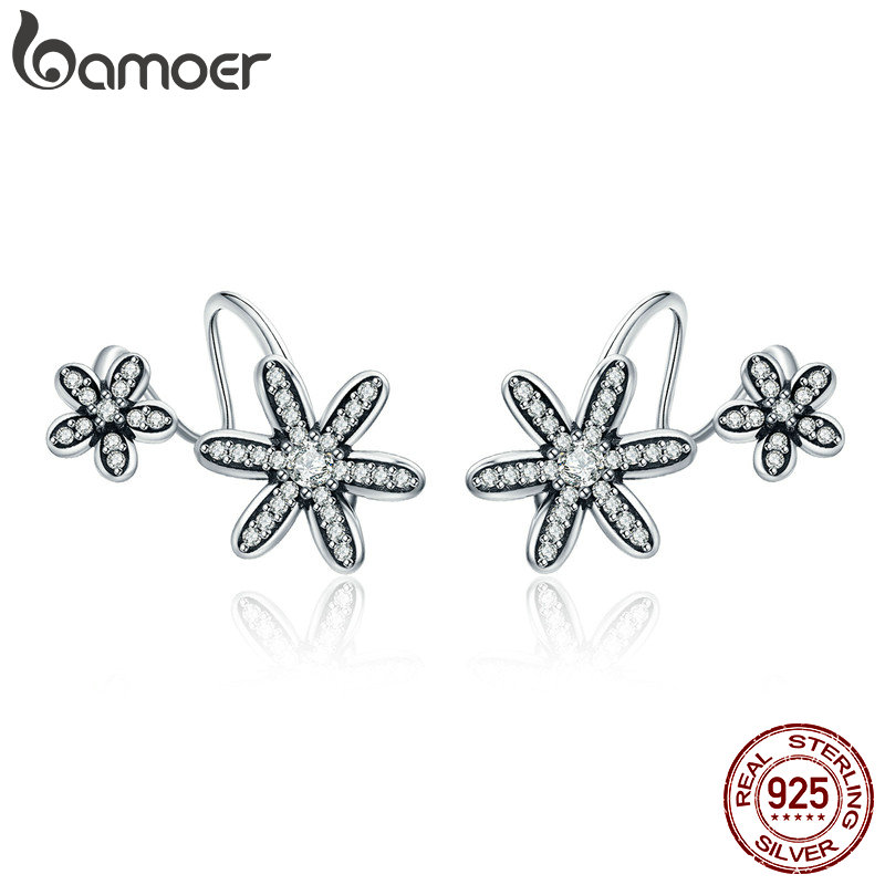 BAMOER 100% 925 Sterling Silver Spring Flower Daisy Clear CZ Twisted Shape Stud Earrings for Women Fine Jewelry S925 Gift SCE338