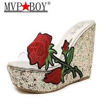 Mvp Boy Summer Women Shoes Embroidery Transparent Platform Wedges Sandals Slippers Floral High Heels Flip Flops Slides