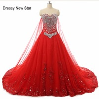 Red A Line Sweetheart Beaded Applique Lace Up Back Bridal Gowns Elegant Wedding Dress Real Photo
