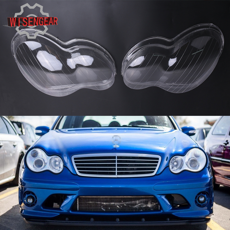 Car Exterior Light Headlight Lens Shell Cover Lamp Assembly For Mercedes Benz W203 C Class C200 C230 C240 4-Door 2001-2007 PD553 free ship camcorder car for mercedes benz s class 2007 12 middle configuration car dvr camera with one lens and obdii adapter