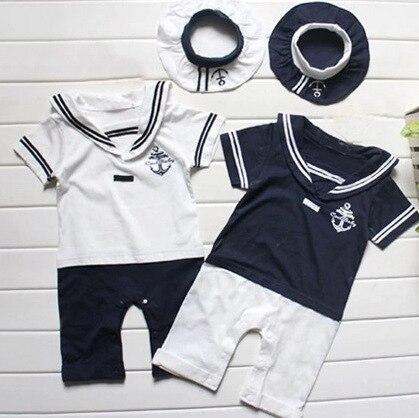 2016 Летом С Коротким Рукавом Baby Boy Sailor Костюм Комбинезон Детская Одежда Вмс Новорожденный Комбинезон