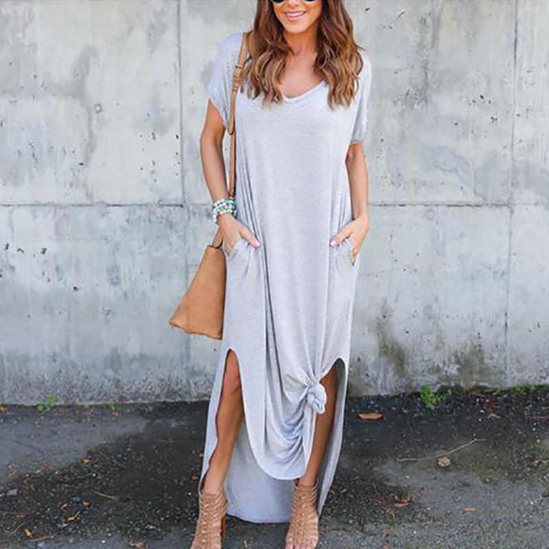 Сексуальное женское платье больших размеров 5XL Лето 2019, однотонное Повседневное платье макси с коротким рукавом для женщин, длинное платье, бесплатная доставка, женские платья