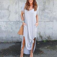 Women Dress Plus Size 5XL Summer  Solid Casual Short Sleeve Maxi Dresses