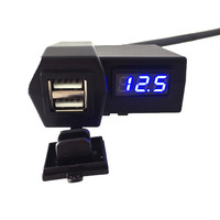 IZTOSS 3 1A Cigarette Lighter Blue Voltmeter Display 2 In 1 Multifunctional USB Car Charger Motorcycle