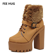 FEE HUG 2017 Women Winter Warm Motorcycle Boots Shoes Plush Fur Ankle Shorts Boots Female Thicken Heels Platform Woman Shoes
