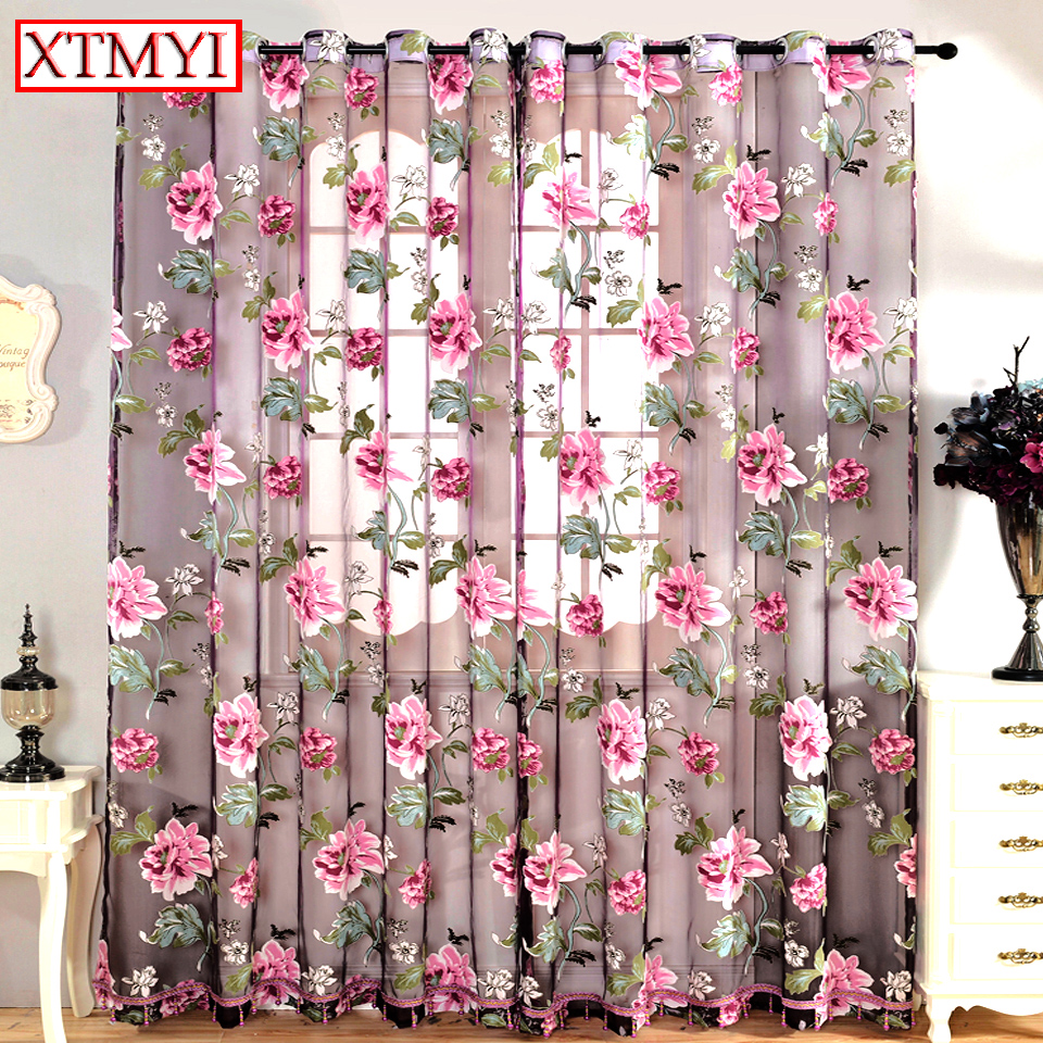 Purple Floral Tulle Curtains For Kitchen Curtains For