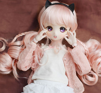 BJD doll hair wigs light pink imitation mohair long curly braid wigs for 1/3 BJD DD SD doll Two ponytails wigs