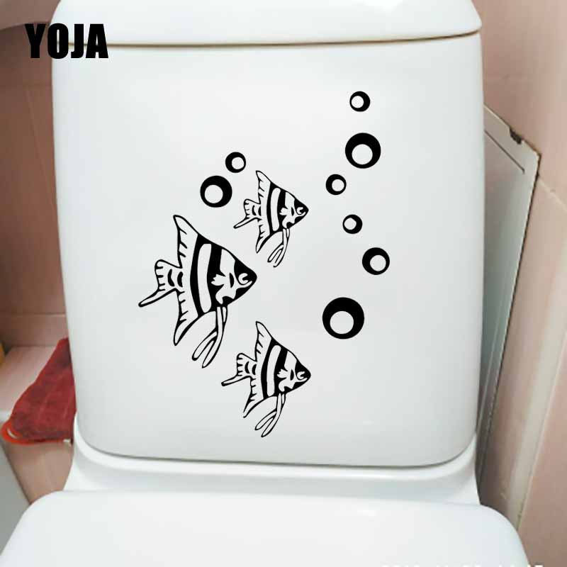 YOJA 17.5X24.2CM Wall Stickers Fish Bathroom Toilet Decal Bedroom Home Decor T5-0399