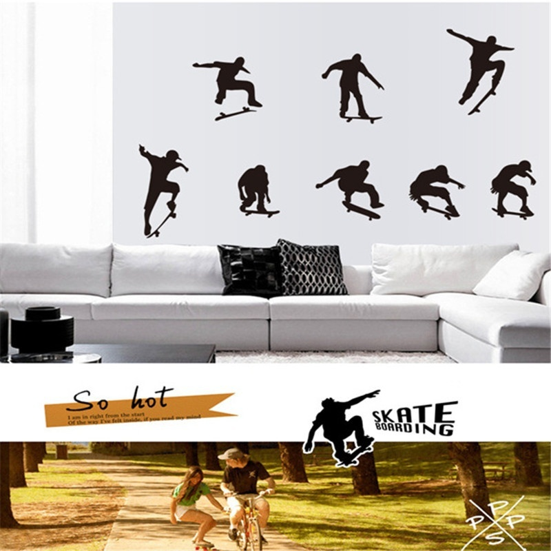 2018 Wallpaper Skate Skateboarding Skater Boy Removable Murals DIY Wall Stickers Home Decor Living Room Wall Decal Stickers