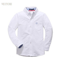 2017 Autumn Spring Oxford cotton solid baby kids Blouse boy shirts long sleeves for children boys christmas gift 120 170cm