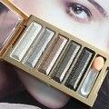 Nueva llegada! 5 Colores Paleta de Sombra de ojos Super Flash Diamante Sombra de Ojos Cosmético con el Cepillo