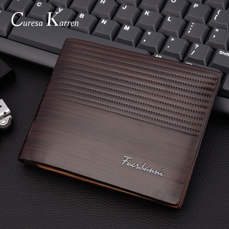 New Men's Short Wallet Europe And America Business Casual Fashion Retro Cross Section Embossed Wallet Large Capacity Wallet