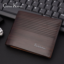New mens short wallet Europe and America business casual fashion retro cross section embossed large capacity