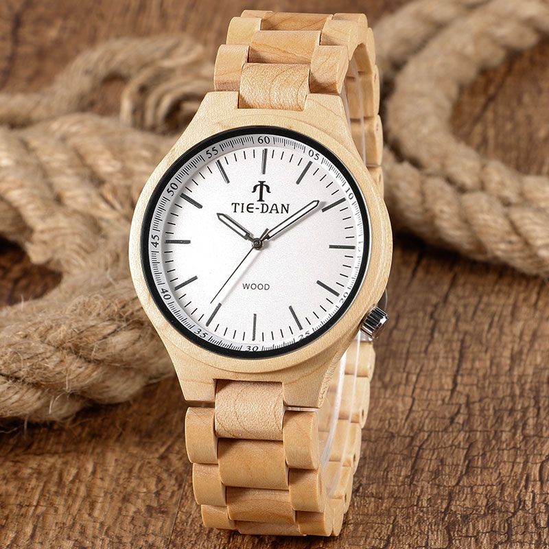 Men Full Wooden Watches 2017 Top Brand Luxury TIEDAN Nature Bamboo Clock Quartz Wristwatch Adjustable Wood Bangle Relogio Hombre yisuya simple fold clasp quartz wristwatch handmade bamboo analog women creative watches men bangle nature wood relogio gift