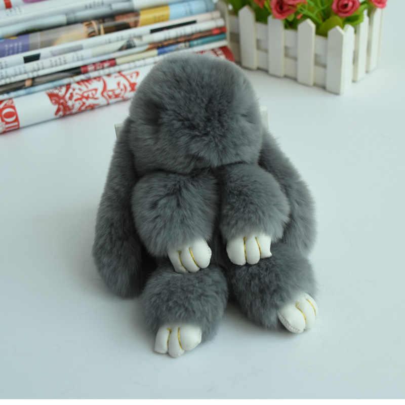 Reale Del coniglio del Rex Della Pelliccia Keychain fluffy Coniglio Bambola pom pom portachiavi portachiavi per le donne Pendente di Fascino Del Sacchetto regalo