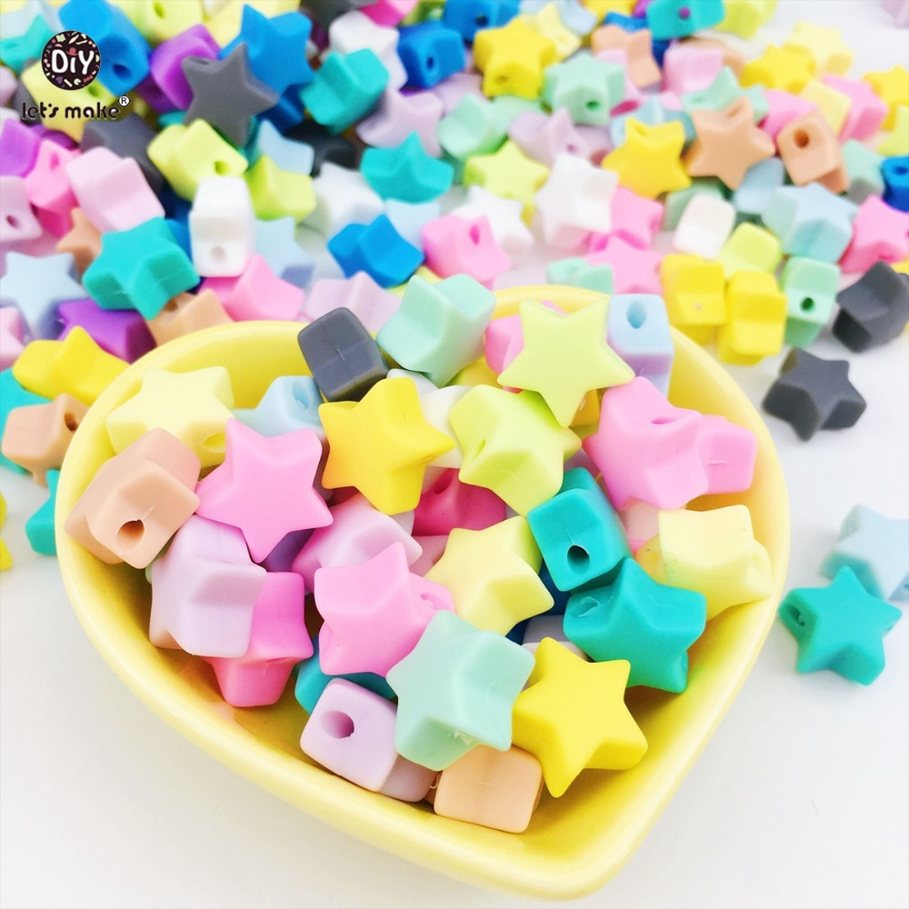 Купить с кэшбэком Let's make Baby Teether 20pc Silicone Beads Star Teething Food Grade BPA Free Chewable Silicone Beads Nursing Baby Teether