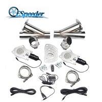 ESPEEDER 2 ''/2.25''/2.5 ''/3.0'' Cortar Aço Inoxidável Cabeçalhos de Escape Catback Par Y Tubo De Válvula De Escape Recorte Elétrica Kit