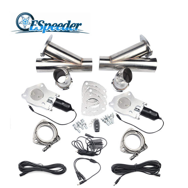 купить ESPEEDER 2''/2.25''/2.5''/3.0'' Exhaust Cut Out Stainless Steel Headers Catback Pair Valve Electric Exhaust Cutout Y Pipe Kit по цене 6047.38 рублей