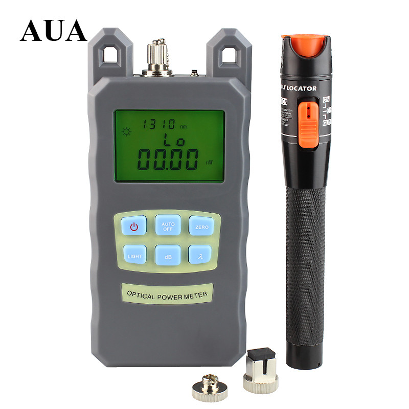 AUA Handheld fiber Optical Power Meter 10mW red light source Visual Fault Locator Fiber Optic Cable