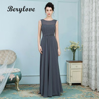 BeryLove Elegant Grey Mother of the Bride Dresses Long Chiffon Formal Dress Women Wedding Mother of the Bride Gowns Plus Size