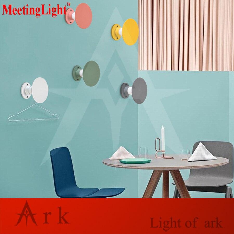 MeetingLight Простой современный железа круглой формы СВЕТОДИОДНЫЙ настенный светильник гостиная спальня ночники