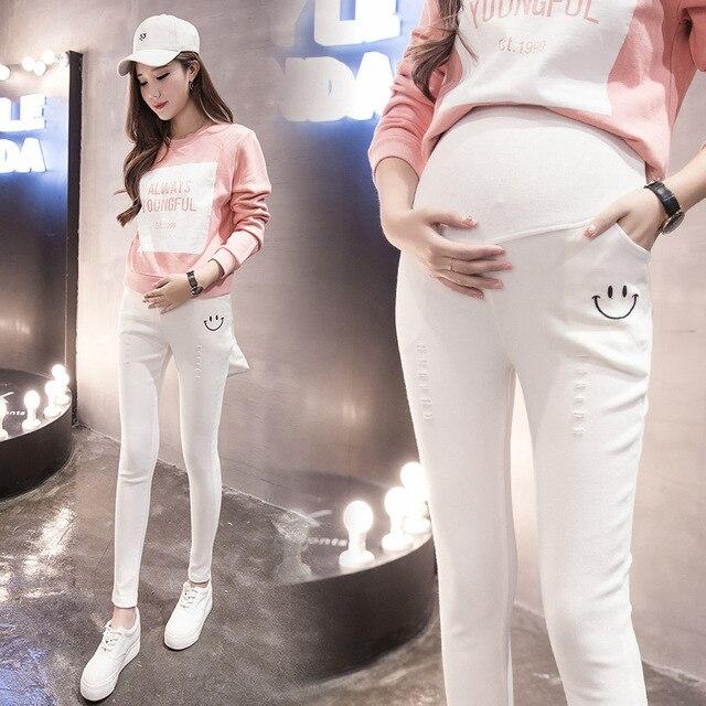 44407754448a3 Plus Size Elastic Waist 100% Cotton Maternity Jeans Pants For Pregnancy  Clothes For Pregnant Women Legging Autumn