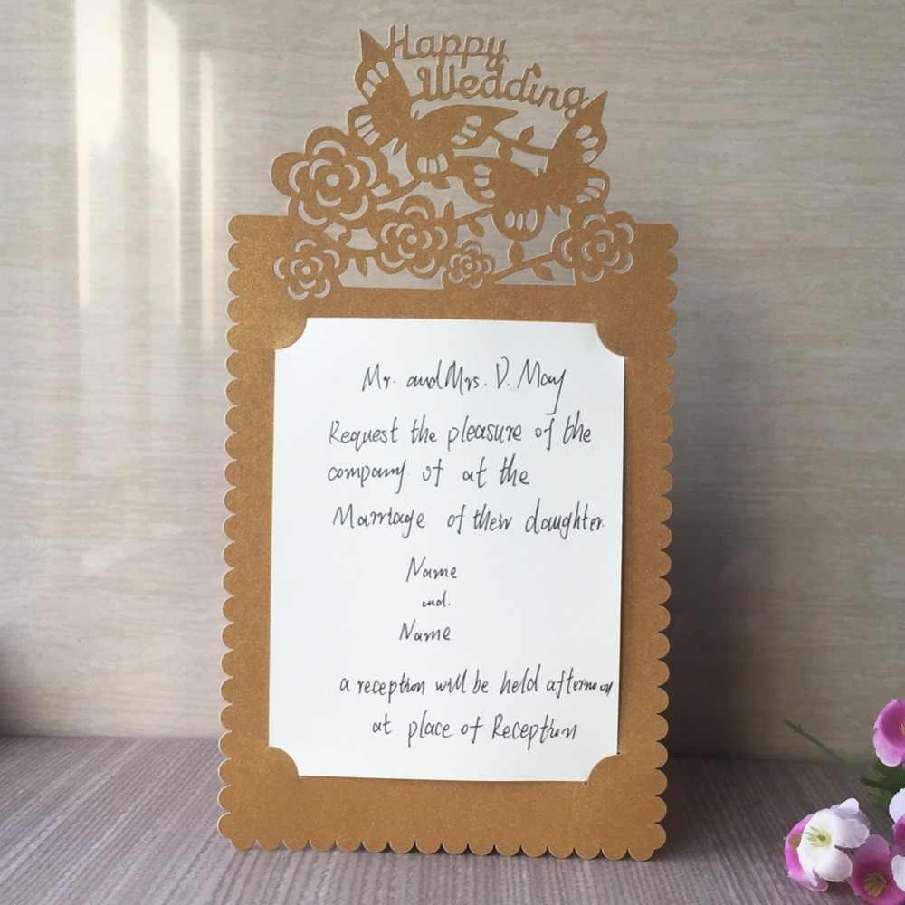35 pièces découpé au Laser unique papier Initations cartes Invitations de mariage élégant carte de voeux carte d'anniversaire