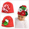 Infant Cotton Beanie Hat With Fabric Flower Baby girls Beanie Shabby Chic Rosette Flower Hats caps Photography Prop 1pc H280