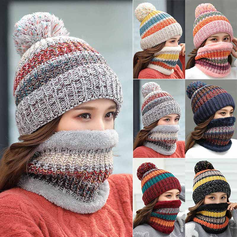 Women Winter Knitted Beanie Hat+ Neckerchief 2pcs Snow Fleece Knitting O Ring Windproof Set H9 To Rank First Among Similar Products