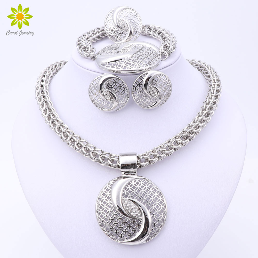 OUHE Luxury Big Dubai Crystal Necklace Jewelry Sets