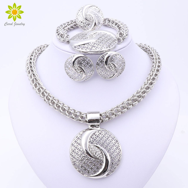 2017 Latest Luxury Big Dubai Silver Plated Crystal Necklace Jewelry Sets Fashion