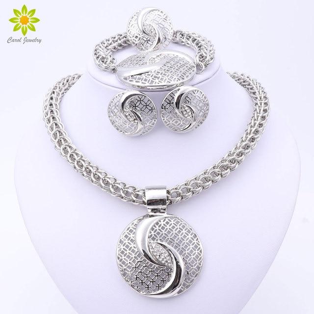 2017 Ultima Lusso Grande Dubai Placcato Argento Collana di Cristallo Monili di M