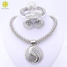 2020 Latest Luxury Big Dubai Silver Plated Crystal Necklace Jewelry Sets Fashion Nigerian Wedding African Beads Costume Jewelry