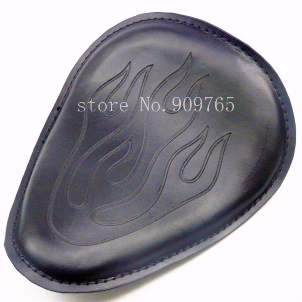 Black Flame Leather Solo Seat For Harley Honda Kawasaki Suzuki Yamaha Chopper XLcruser Atv Scooter Offroad