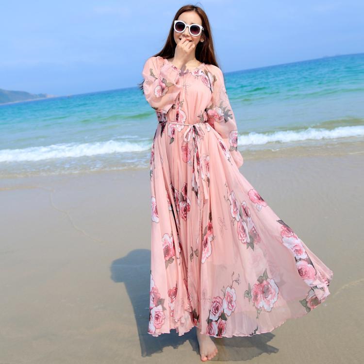 Fl Print Chiffon Long Dress Women Lightweight Maxi Dresses Vestidos Holiday Beach Summer Honeymoon Sundreaa In From S